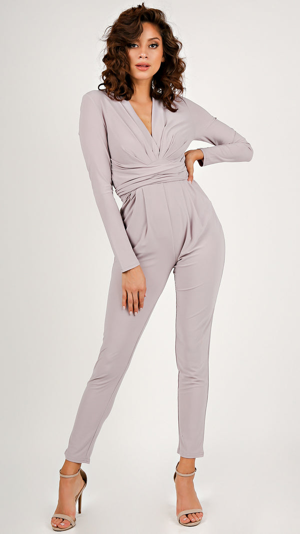 Long Sleeve Tie Front Jumpsuit...