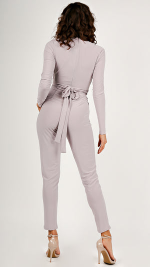 Long Sleeve Tie Front Jumpsuit