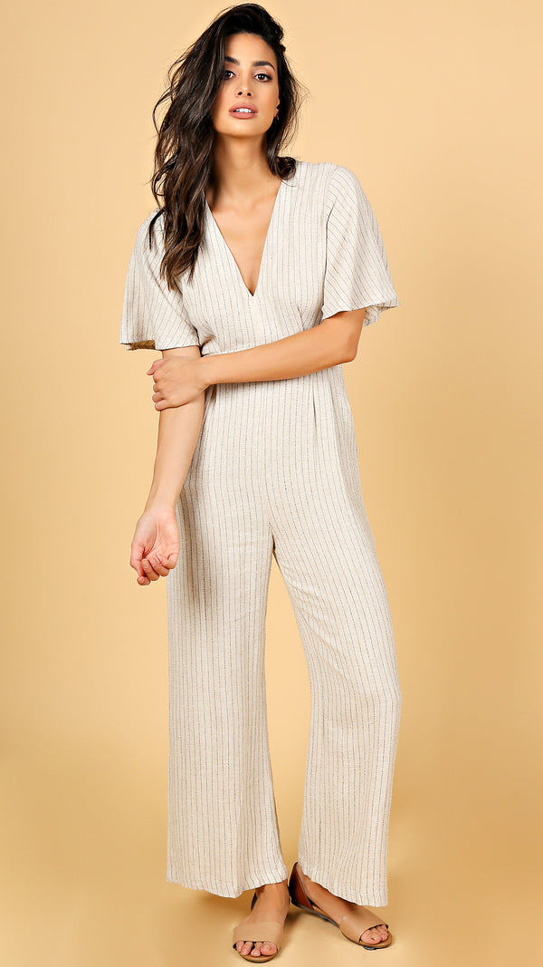 Linen Like Striped Jumpsuit