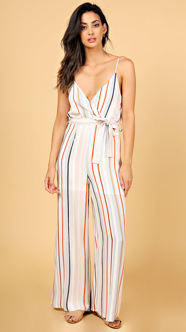 Retro Striped Jumpsuit