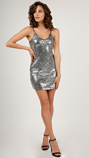 Criss Cross Back Sequins Dress