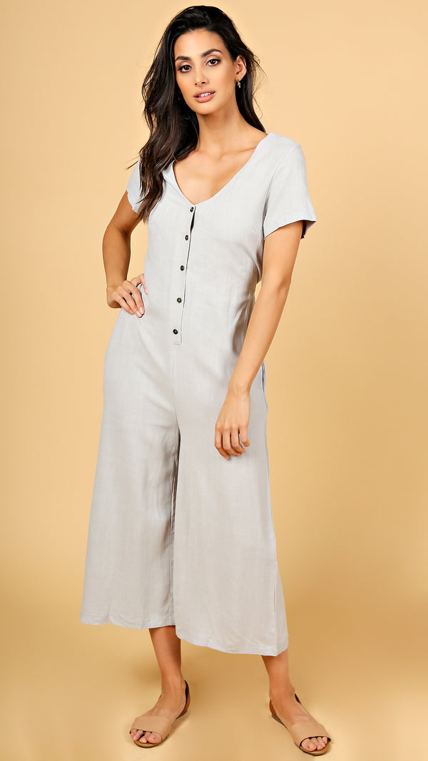 Linen Button Down Jumpsuit