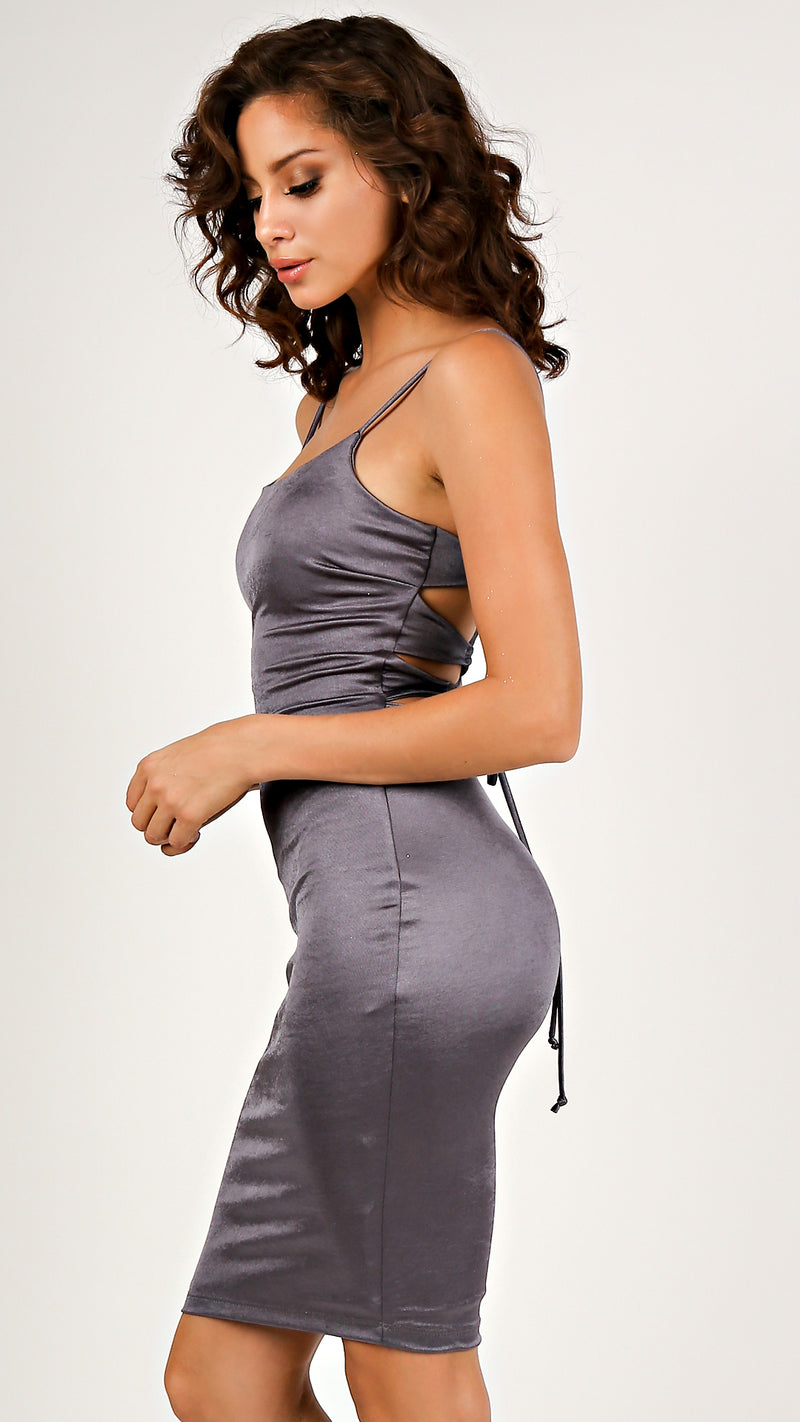 Lucy Satin Lace Up Dress...
