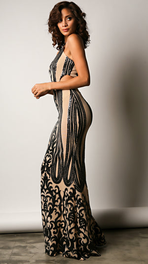 Bold Filigree Sequin Maxi