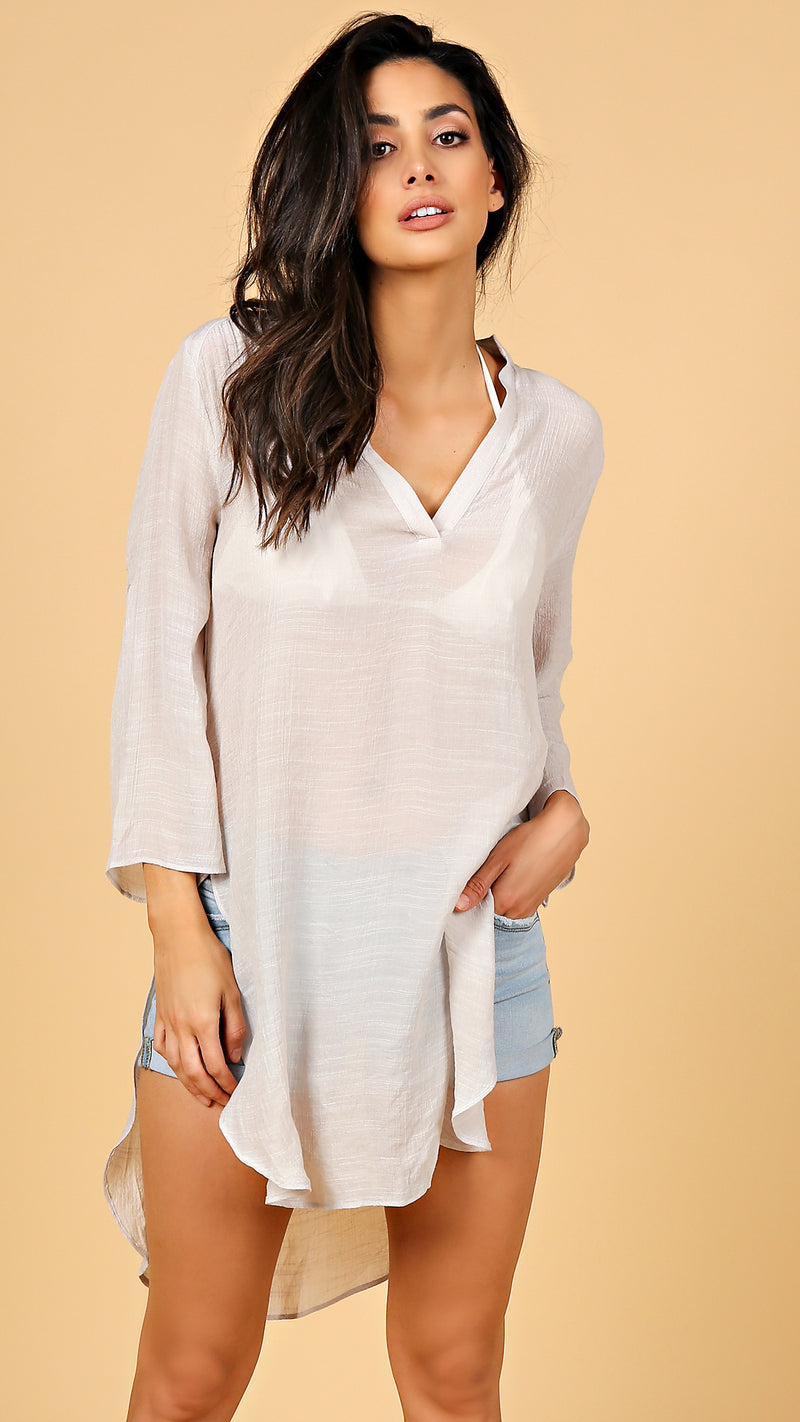 Open Side Hem Shirt Dress