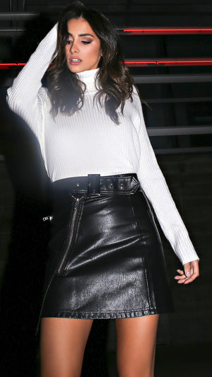 Zippered Leather Moto Skirt