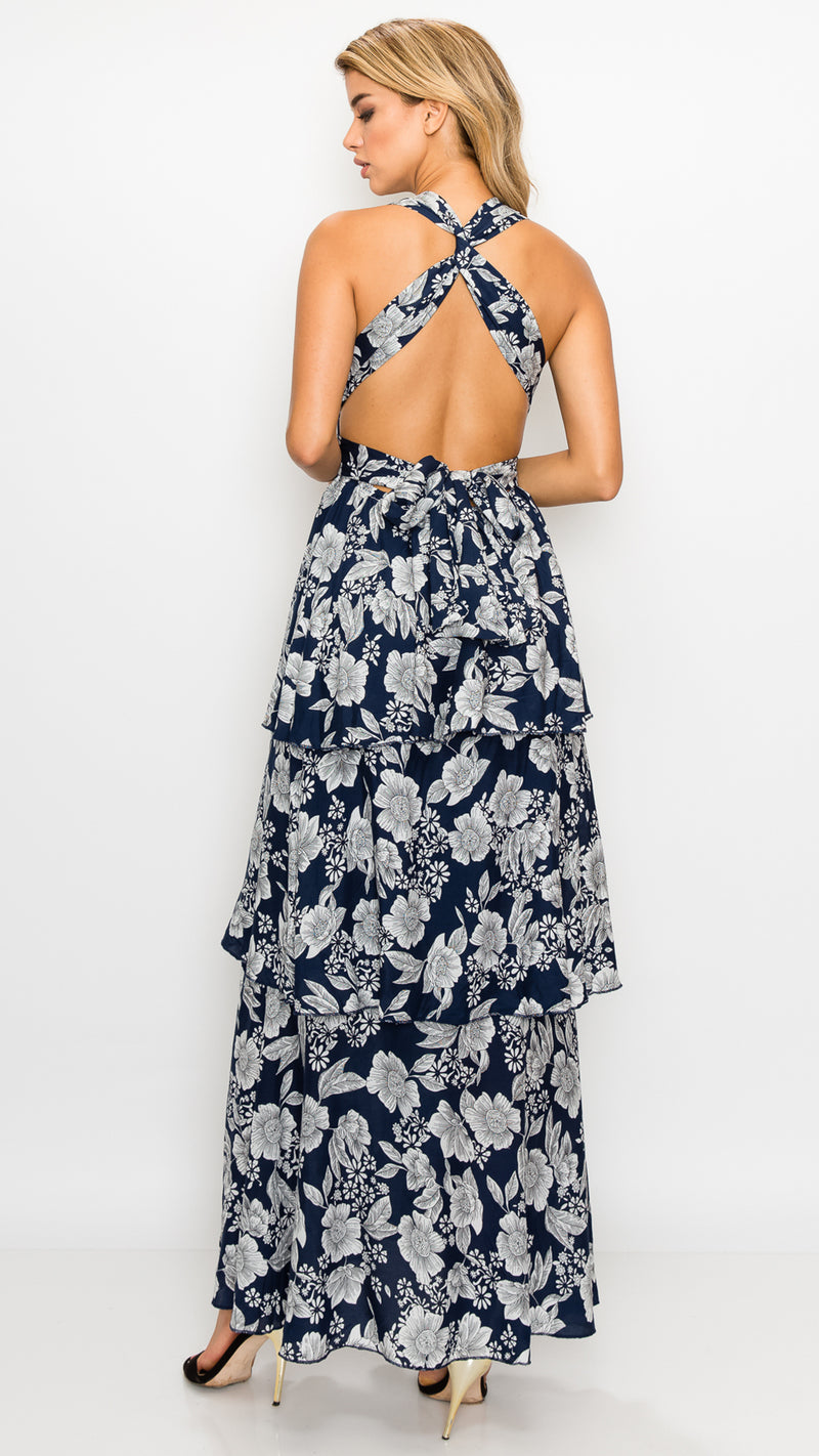 Floral Flounce Maxi Dress