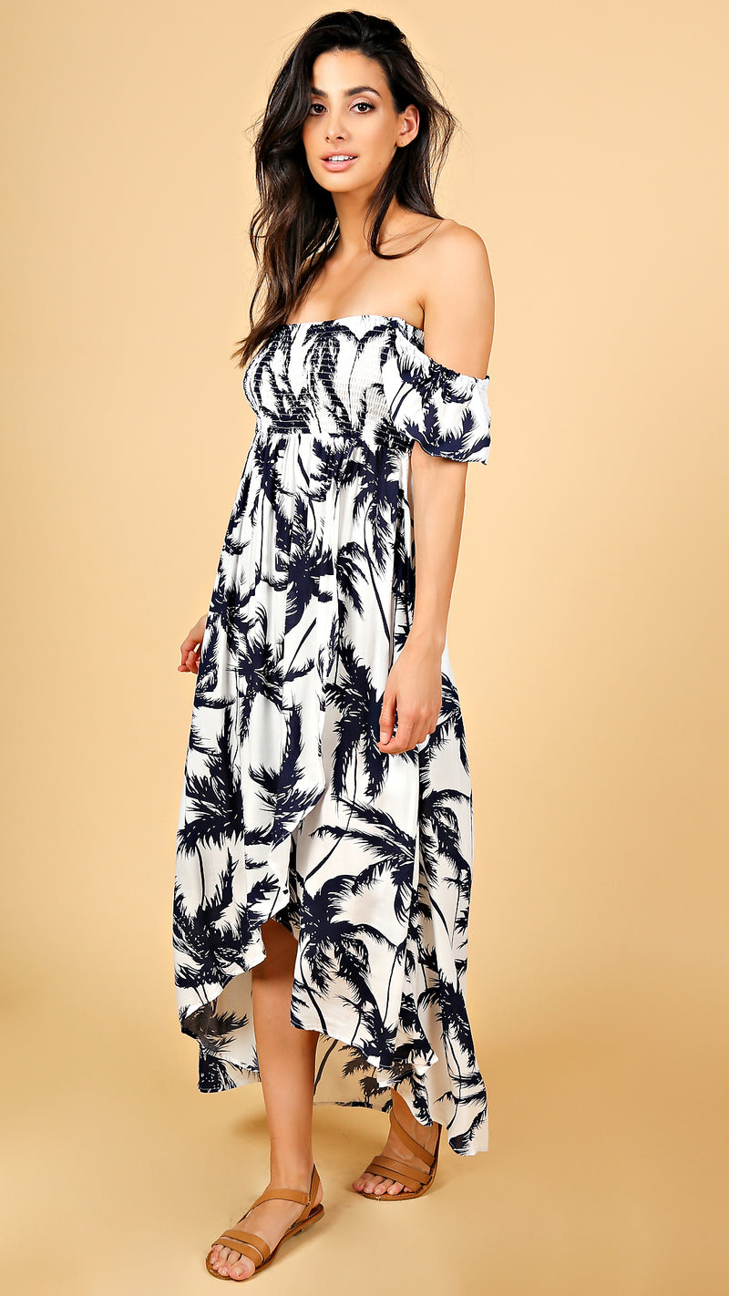 Palm Tree Printed Maxi Dress