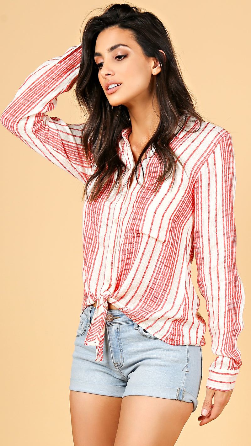 Western Striped Button Down Top