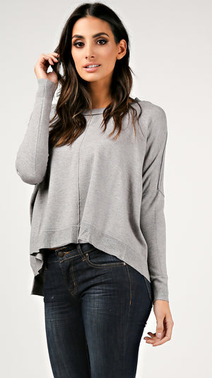 Dolman Sleeve Square Hem Sweater