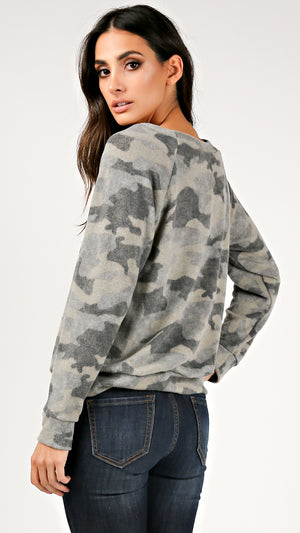 Camo Fuzzy Long Sleeve Top