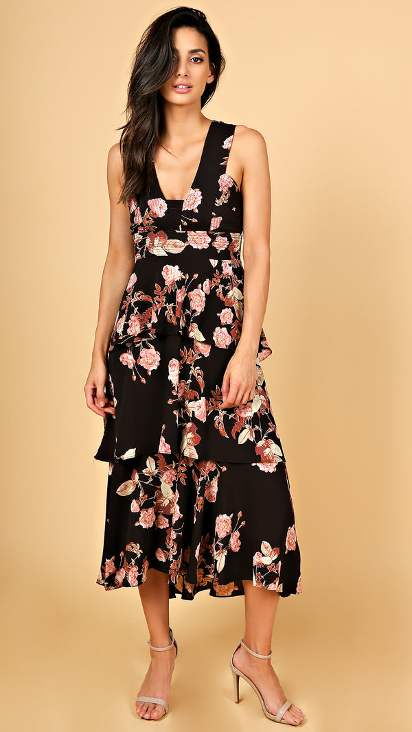 Midnight Floral Ruffle Midi Dress