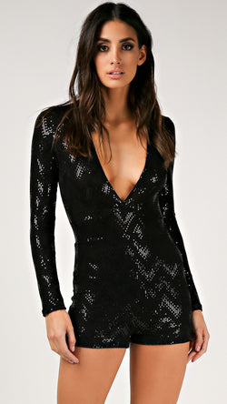 Chevy Sequin Long Sleeve Romper - Msky