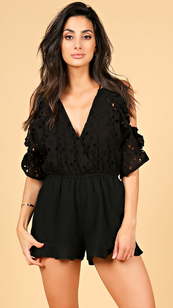 Jessika Open Shoulder Romper