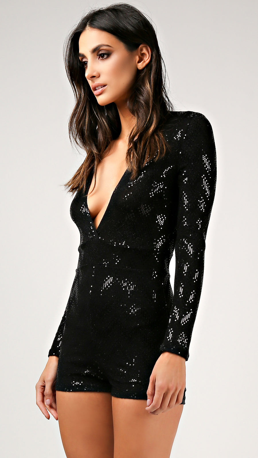 Chevy Sequin Long Sleeve Romper - ANGL