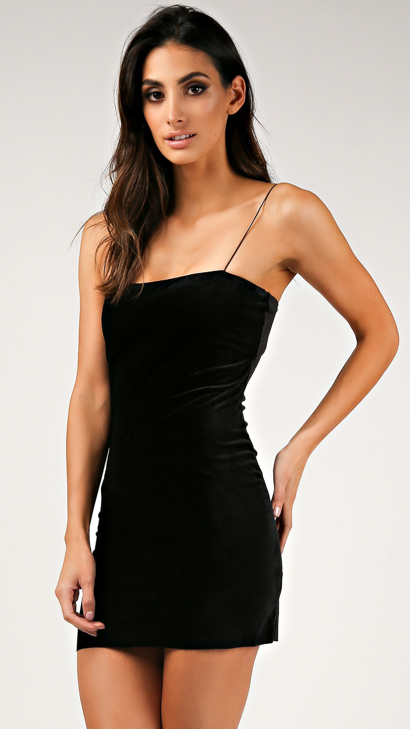 Straight Neck Velvet Mini Dress