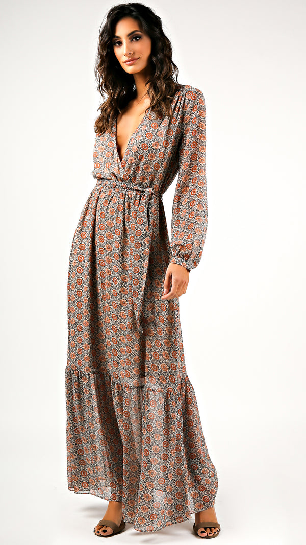 Vinyl Floral Long Sleeve Maxi Dress