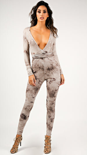 Neutral Tie Dye Catsuit