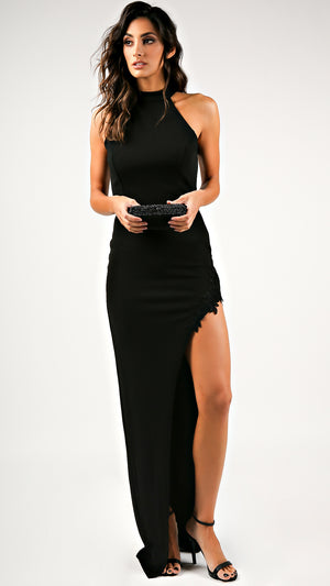 Lace Trim Open Back Halter Maxi Dress