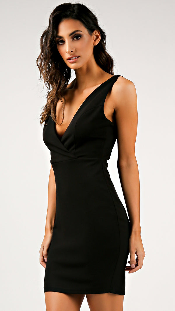 Formal Black Bodycon Mini Dress - Msky