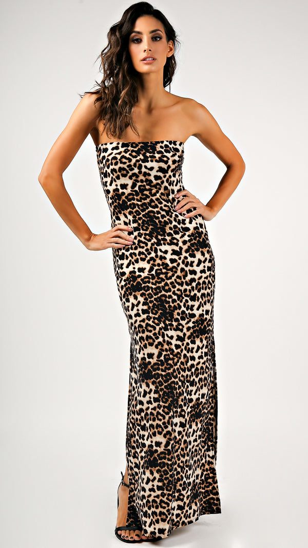 Soft Leopard Tube Maxi Dress
