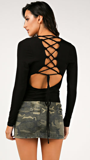 Tie Back Knit Long Sleeve Top