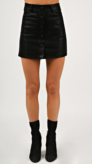 Button Down Leather Mini Skirt