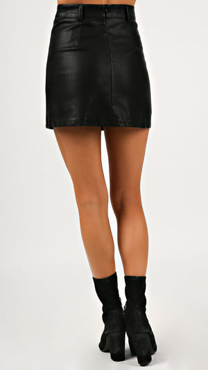 Button Down Leather Mini Skirt - ANGL