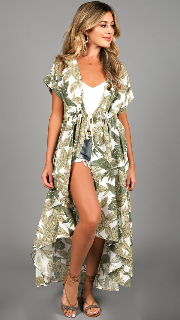 Tropical Green Leaves Kimono