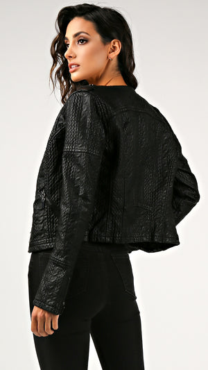 Texture Detail Leather Zip Up Jacket