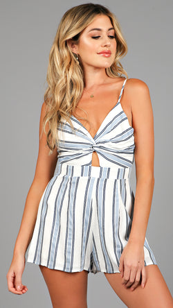 Front Twist Striped Romper