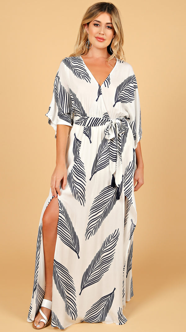 Palm Leaf Printed Maxi Dress