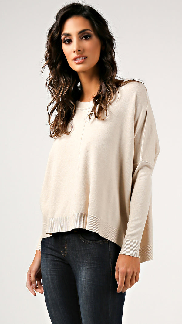 Dolman Sleeve Square Hem Sweater - Msky