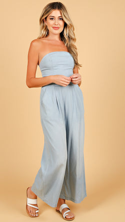 Chantel Denim Like Jumpsuit - Msky