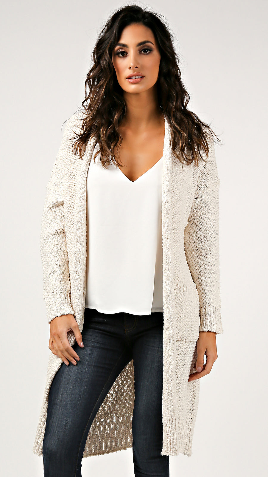 Bubble Knitted Draped Cardigan