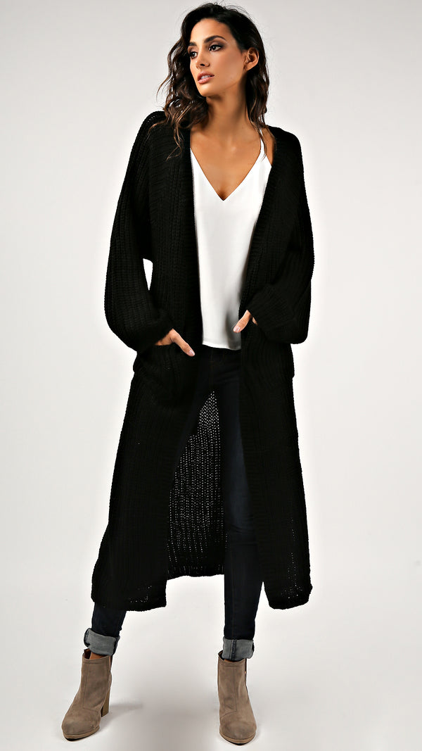 Side Slit Long Knit Cardigan