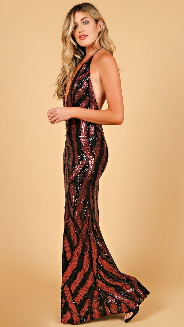 Fiery Sequin Maxi Dress - Msky