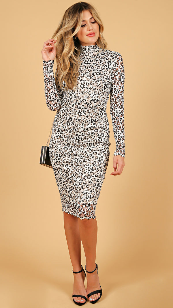 Cheetah High Neck Midi Dress - Msky
