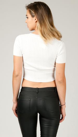 Ribbed Roundneck Short Sleeve Crop Top - White
