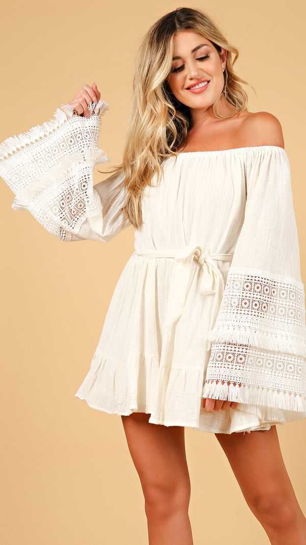 Crochet Off Shoulder Mini Dress - Msky