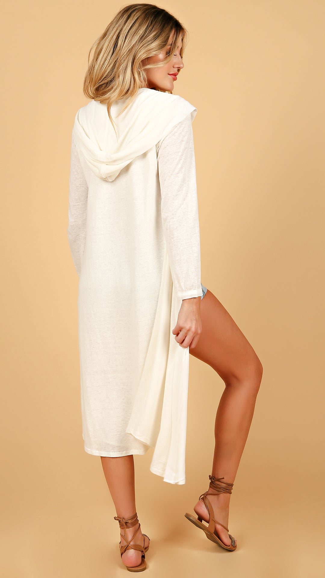 Hooded Chiffon Mix Long Cardigan