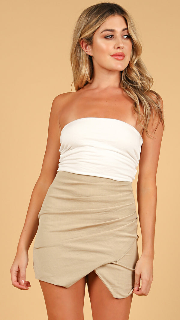 Asymmetrical Wrap Mini Skirt - Msky