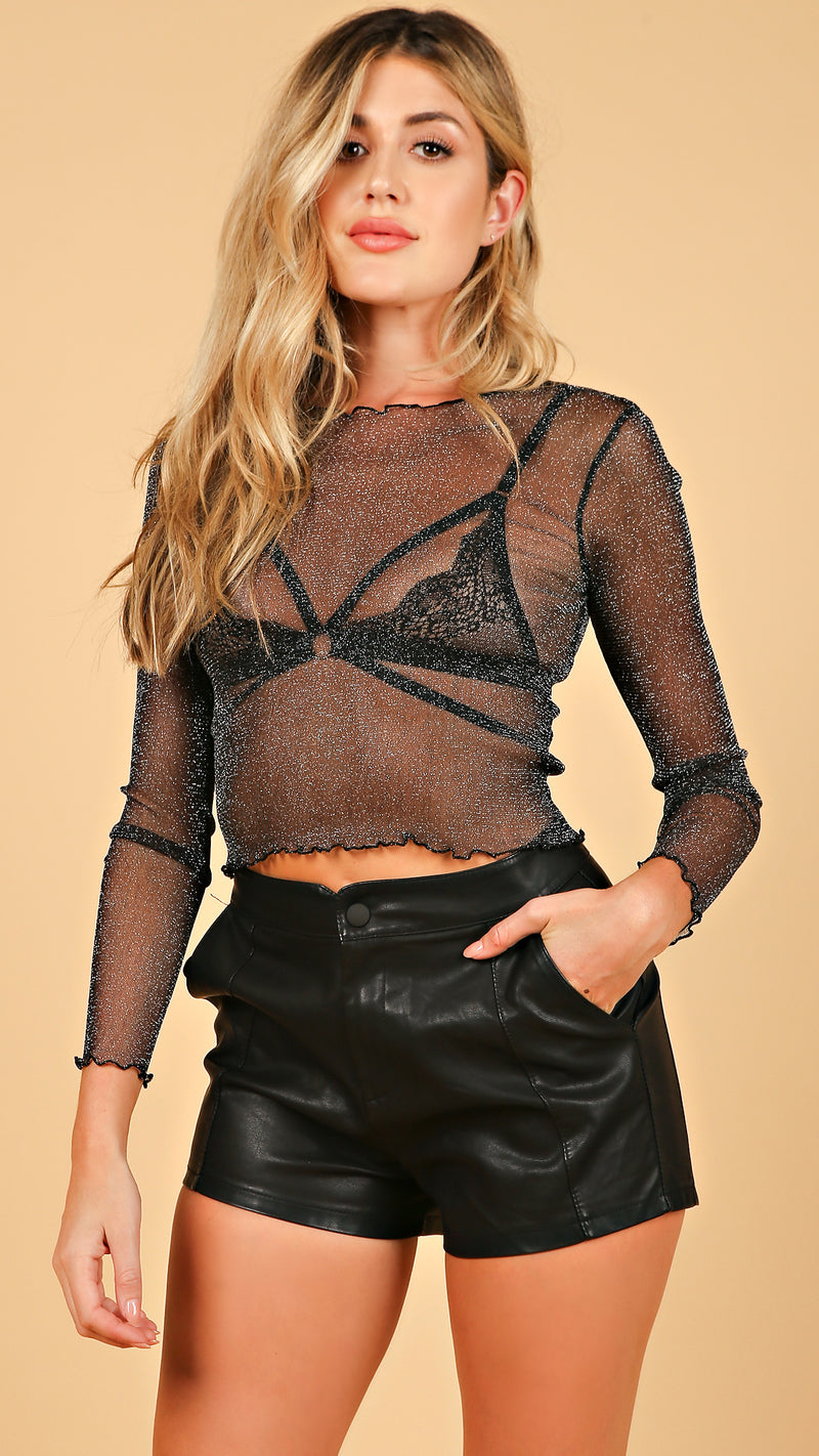 Shimmer See Through Mesh Top
