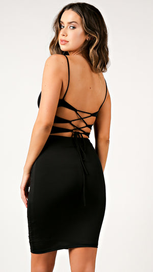 Satin Midi Lace Back Dress