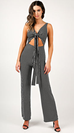 Front Cut Out Striped Jumpsuit