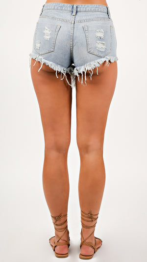 Distressed Denim Shorts - ANGL