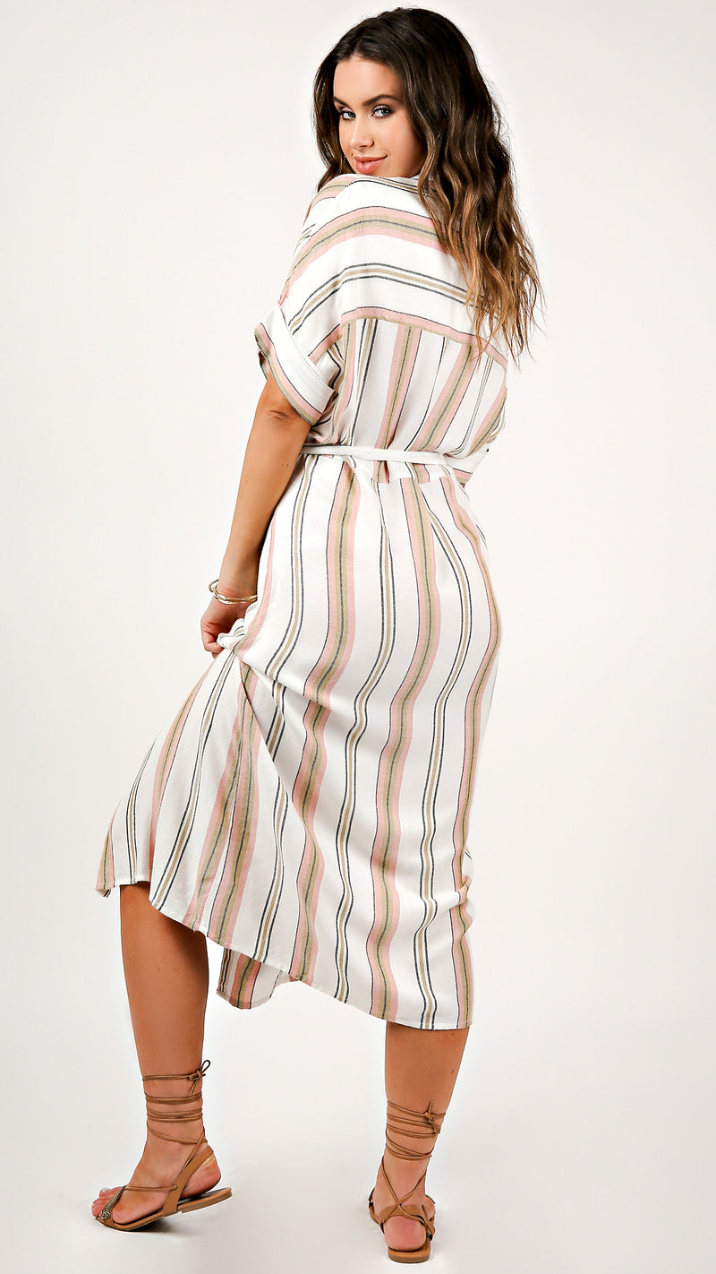 Stripe Detail Wrap Maxi Dress