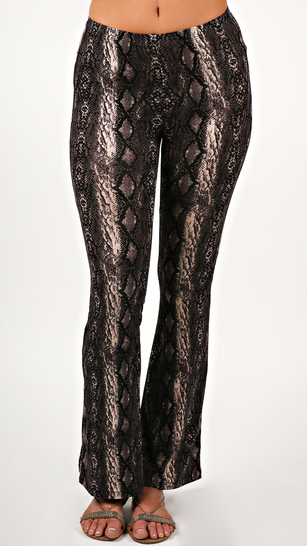 Dark Python Bell Bottom Pants