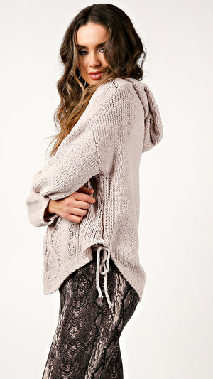 Cable Knit Side Tie Hoodie Sweater - ANGL
