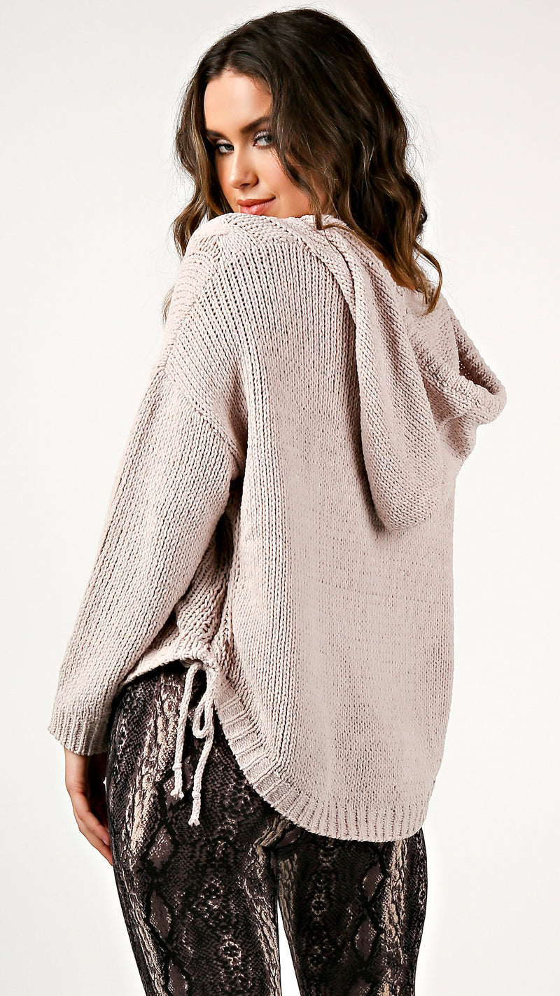 Cable Knit Side Tie Hoodie Sweater - Msky